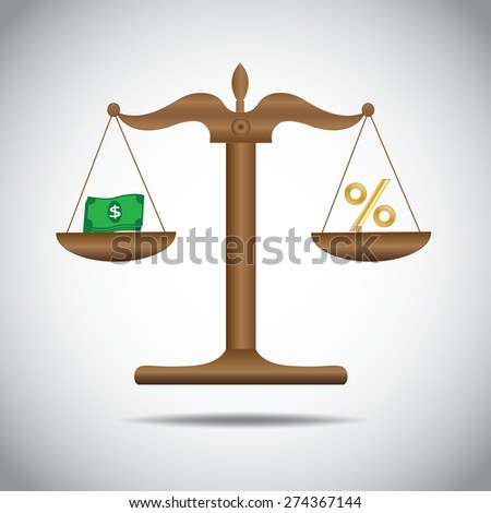 weighing or compare or exchange  money to percent  concept  - stock vector