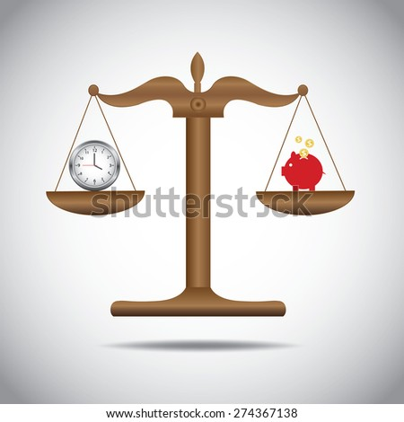 weighing or compare or exchange time to saving money concept  - stock vector