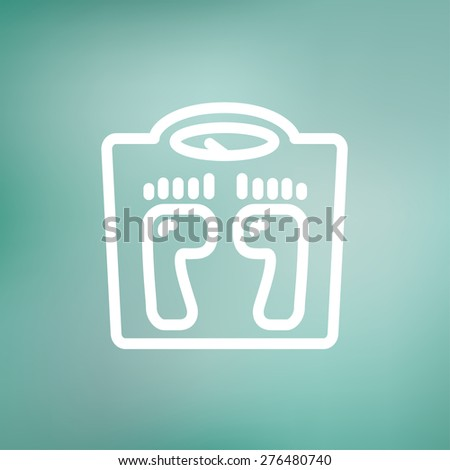 Weighing scale icon thin line for web and mobile, modern minimalistic flat design. Vector white icon on gradient mesh background. - stock vector