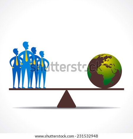 weighing scale on team and earth design concept vector - stock vector