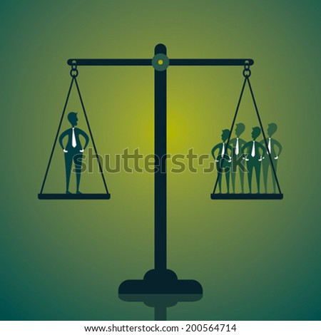 weighing the office people l, one side leader other side team member concept vector - stock vector