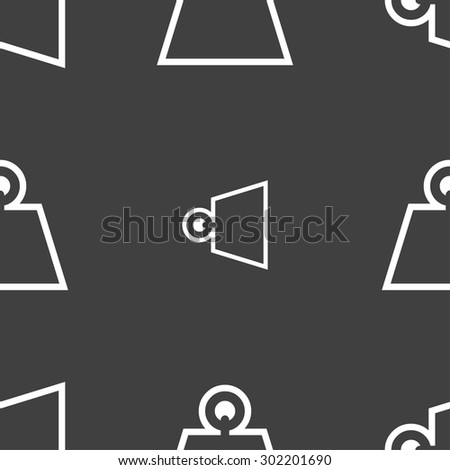 Weight icon sign. Seamless pattern on a gray background. Vector illustration