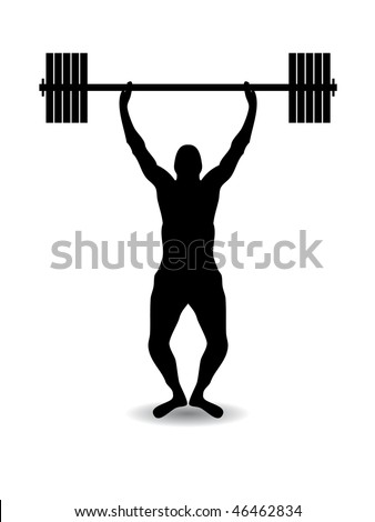 Weight lift silhouette - stock vector