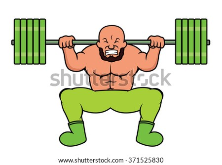 Weight Lifter Doing Heavy Barbell Squat - stock vector