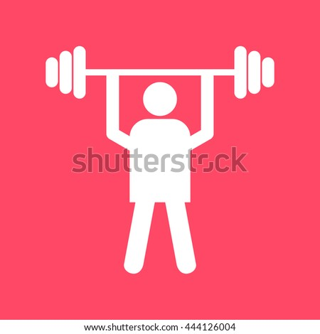 Weight Lifter white icon on magenta color background.. Eps-10. - stock vector