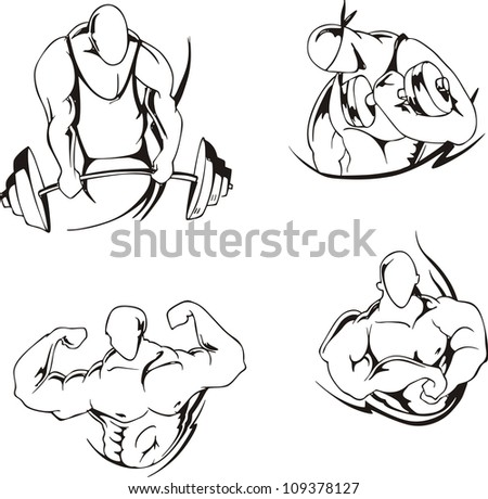 Weight lifting and bodybuilding. Set of black and white vector illustrations.
