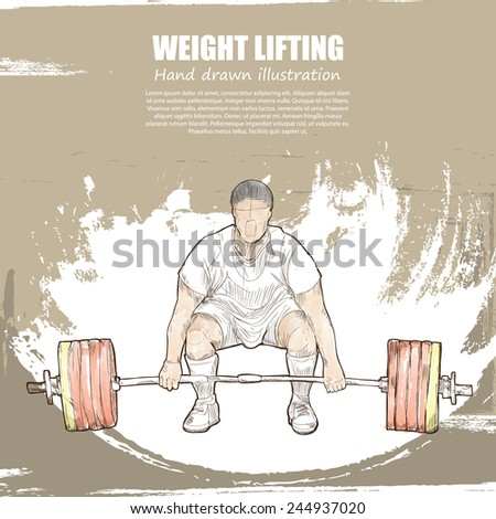 Weight Lifting background Design. Hand drawn. - stock vector
