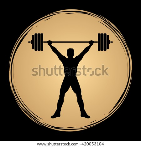 Weight Lifting silhouette, designed on grunge circle background graphic vector.