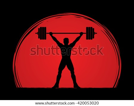 Weight Lifting silhouette, designed on sunset background graphic vector.