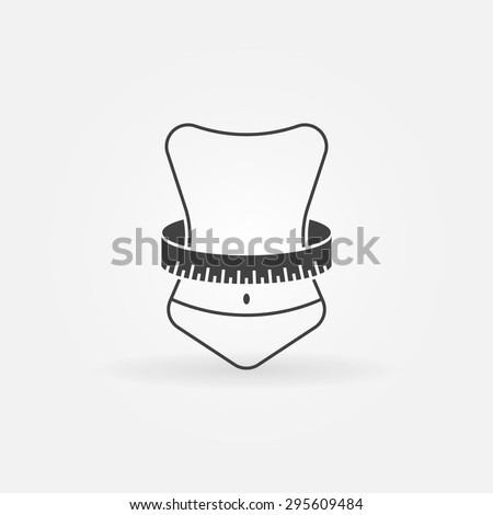 Weight loss icon or logo - vector symbol of woman with measuring tape - stock vector