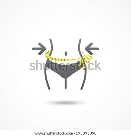 Weight loss icon. Slim lady with measuring tape. - stock vector