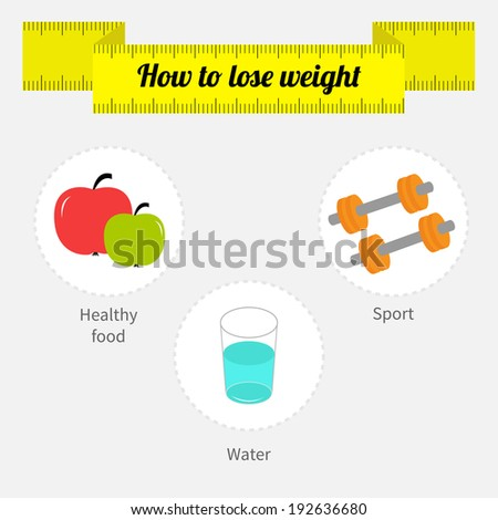 Weight loss infographic. Diet, fitness, drinking water. Vector illustration - stock vector