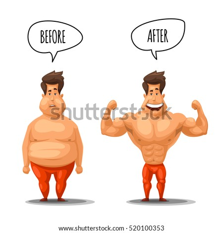Weight Loss Man Before After Diet Stock Photo Photo Vector