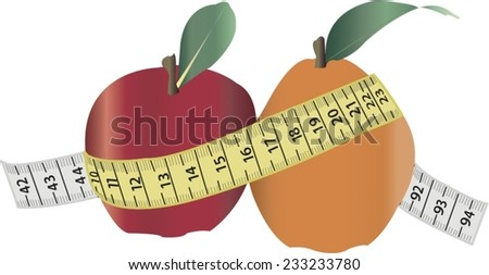 weight loss with fruits and tape measure - stock vector