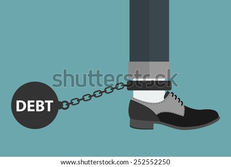 Weight of debt chained to a man's foot. - stock vector