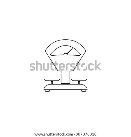 Weight Scale. Outline black simple vector pictogram - stock vector