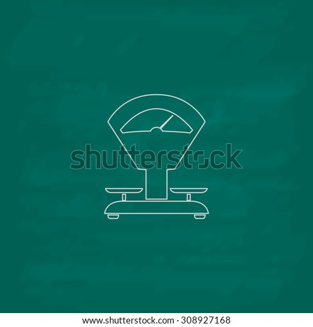 Weight Scale. Outline vector icon. Imitation draw with white chalk on green chalkboard. Flat Pictogram and School board background. Illustration symbol - stock vector