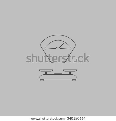 Weight Scale. Outlne vector icon on grey background - stock vector
