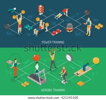 Weight strength and fitness training in sport center 2 isometric horizontal banners set abstract isolated vector illustration