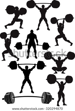 weightlifte silhouettes - stock vector