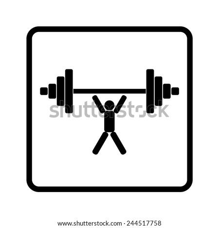 weightlifter lifts weight isolated, vector - stock vector
