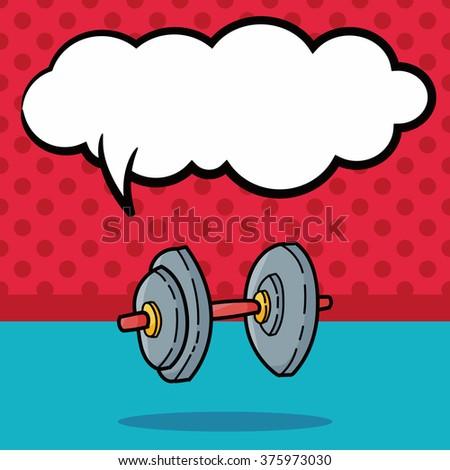 Weightlifting doodle, speech bubble - stock vector
