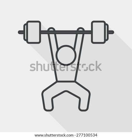 weightlifting flat icon with long shadow, line icon - stock vector