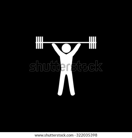 Weightlifting. Simple flat icon. Black and white. Vector illustration - stock vector