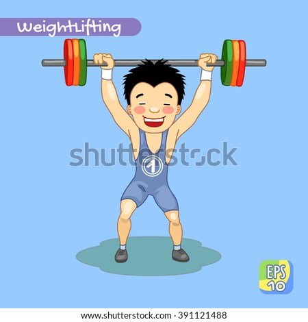Weightlifting. Weightlifter. Sport. Champion. Vector illustration. - stock vector