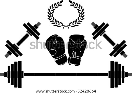 weights and boxing gloves. vector illustration - stock vector