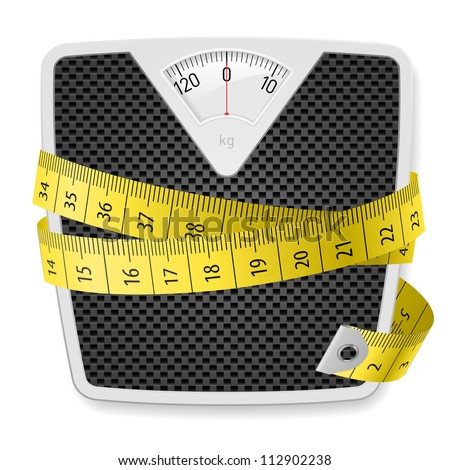 Weights and tape measure. Illustration on white background - stock vector