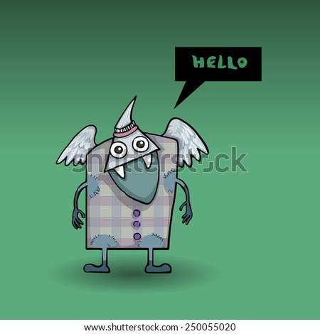 Weird alien, monster creature, saying hello, vector illustration - stock vector
