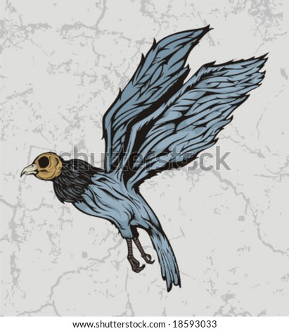 WEIRD BIRD SKULL - stock vector