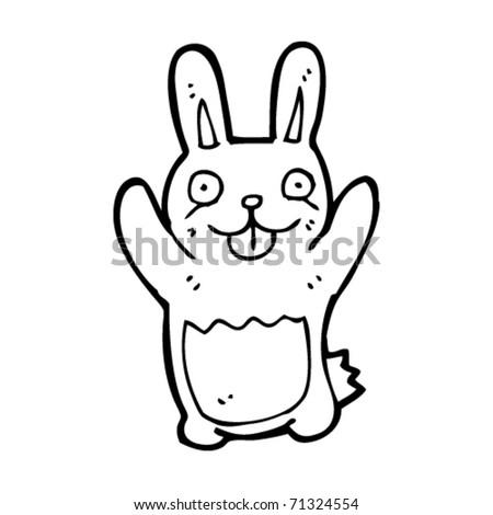 weird happy rabbit cartoon - stock vector