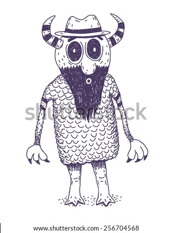 Weird monster with beard vector drawn character isolated on white background - stock vector