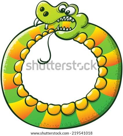 Weird stripped snake executing a complicated performance consisting on forming a circle with its body while biting its tail with its sharp fangs - stock vector