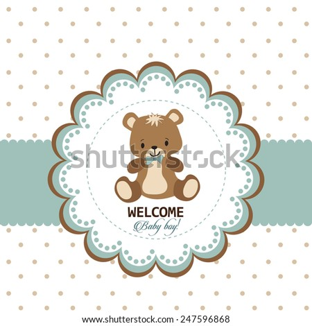 Welcome baby boy greeting card - stock vector