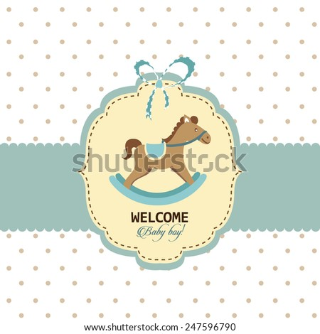 Welcome baby boy greeting card template - stock vector