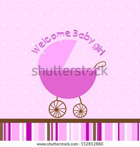 Welcome baby girl - stock vector