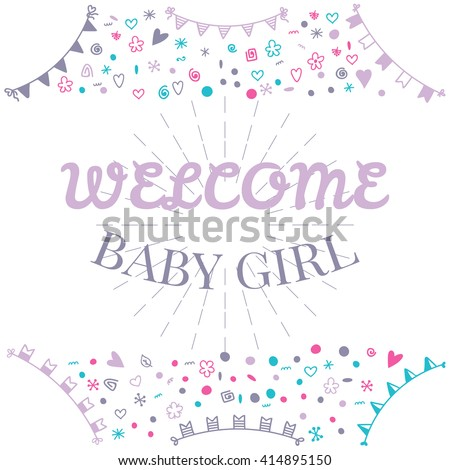 Welcome baby girl baby shower greeting stock vector hd royalty free welcome baby girl baby shower greeting card cute baby girl shower card baby m4hsunfo