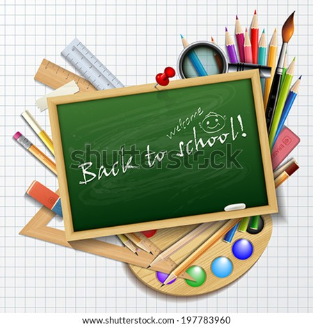 Welcome Back to school background or card with rulers, pencils, brush and colors.    Vector illustration.