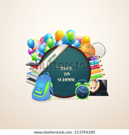 Welcome Back to School background, Vector Objects Illustration