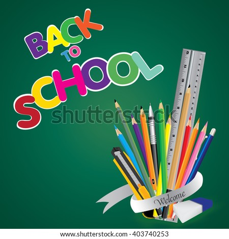Welcome back to school. Board with object tool for school on a green background. Vector illustration.