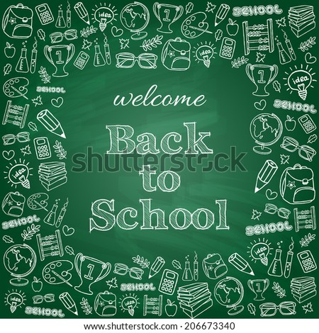 Welcome back to school card. Doodle pen drawn background. Vector illustration. - stock vector