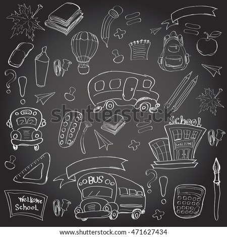Welcome Back to School Classroom Supplies Notebook Doodles Hand-Drawn Illustration Design Elements, Freehand drawing, Vector.  blackboard background.