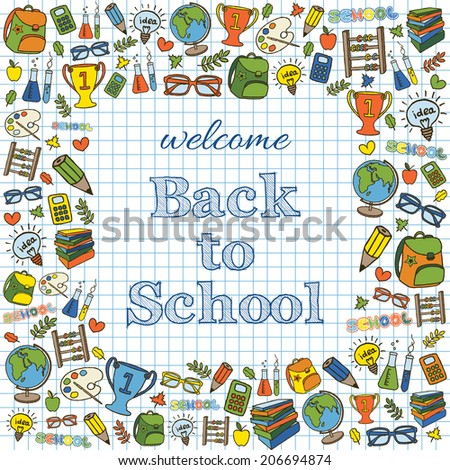 Welcome back to school colored card. Doodle pen drawn background. Vector illustration. - stock vector