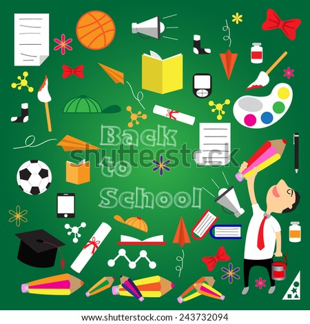 Welcome back to school concept, vector illustration. - stock vector