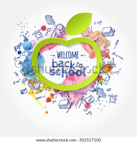 Welcome back to school creative banner with hand drawn doodle elements and paper apple symbol.  Vector illustration.