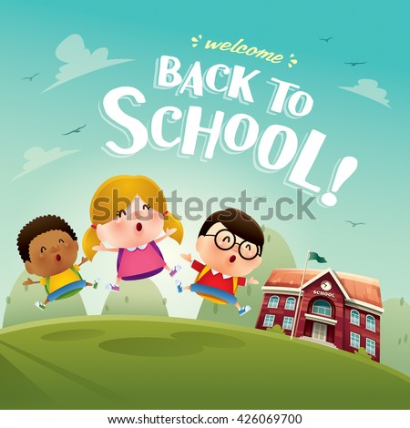 Welcome back to school! Cute school kids. - stock vector
