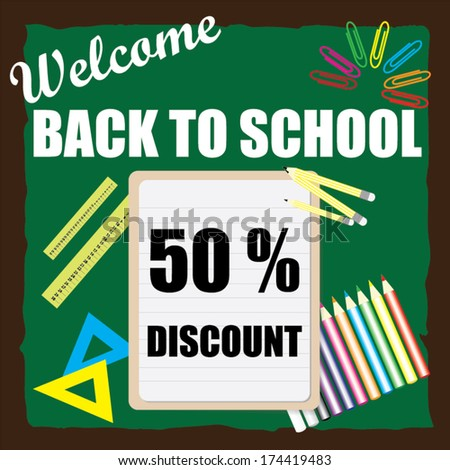 Welcome back to school discount 50 percent, vector illustration.
